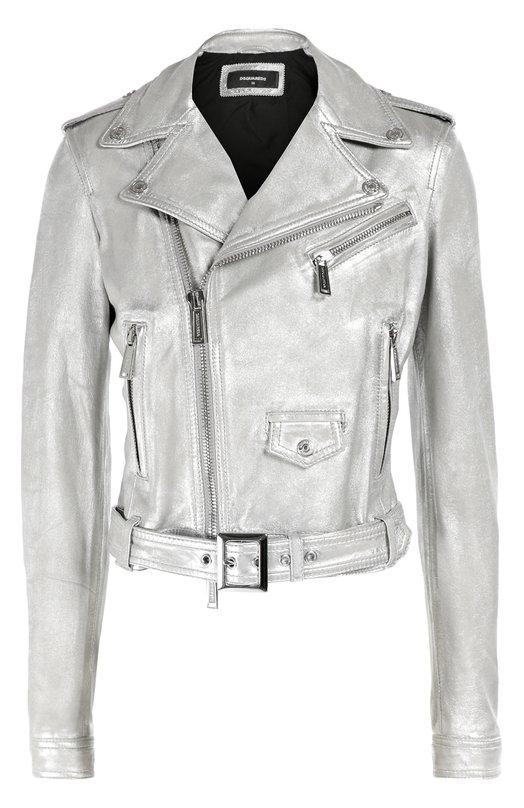 Укороченная куртка из металлизированной кожи с косой молнией Dsquared2 S75AM0454/SX9862