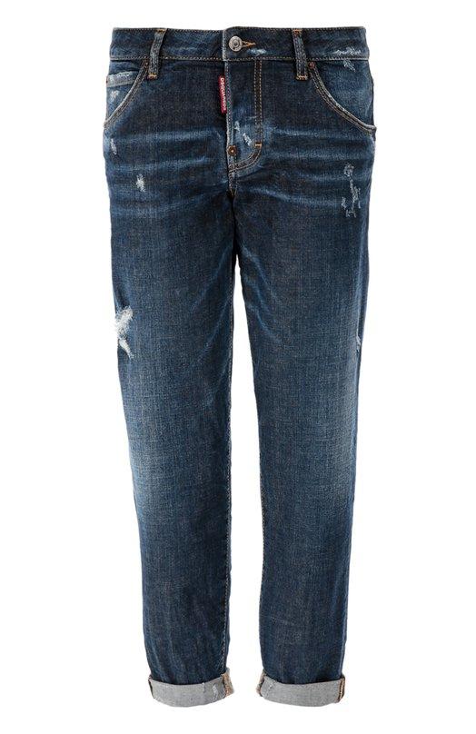Укороченные джинсы с потертостями и отворотами Dsquared2 S75LA0796/S30144