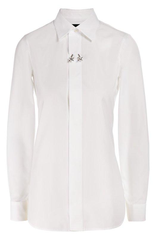 Хлопковая блуза прямого кроя с декоративной брошью Dsquared2 S75DL0492/S36275