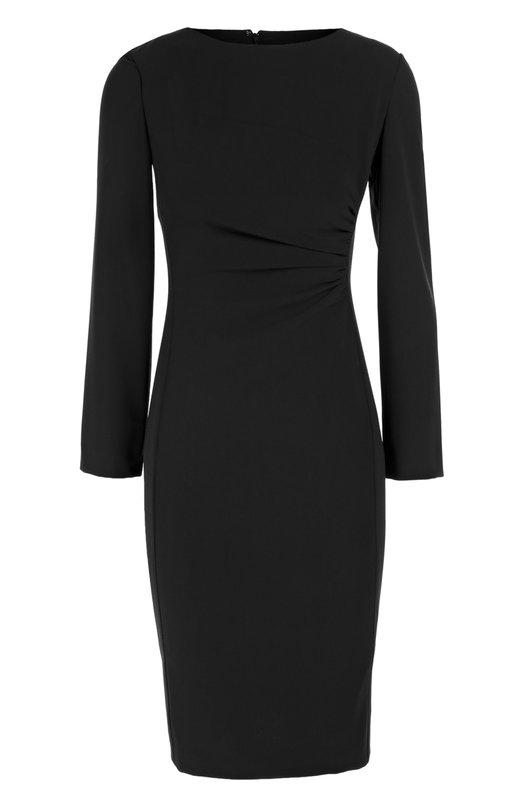 Облегающее платье с вырезом-лодочка и драпировкой Armani CollezioniПлатья<br>Темно-синие платье из осенне-зимней коллекции бренда, основанной Джорджио Армани, выполнено из плотной гладкой шерсти с добавлением эластичных нитей. Модель с вырезом бато декорирована мягкой драпировкой на талии. Нам нравится сочетать с черными полуботинками и сумкой.<br><br>Российский размер RU: 46<br>Пол: Женский<br>Возраст: Взрослый<br>Размер производителя vendor: 44<br>Материал: Шерсть: 96%; Эластан: 4%; Подкладка-полиэстер: 100%;<br>Цвет: Темно-синий