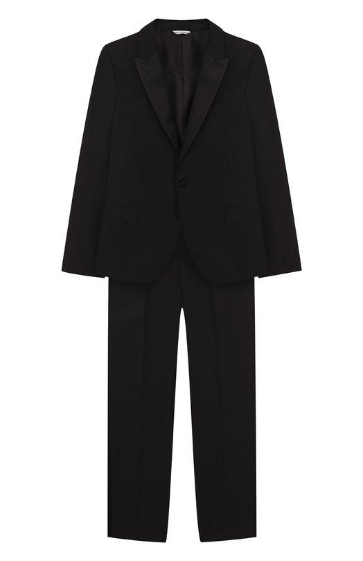 Смокинг из смеси шерсти и шелка Dolce &amp; GabbanaКостюмы<br>В коллекцию сезона осень-зима 2016 года вошел черный смокинг из тонкой смешанной ткани на основе шерсти и шелка. Пиджак прямого кроя, с атласными заостренными лацканами дополнен брюками с узкими лампасами.<br><br>Размер Years: 8<br>Пол: Мужской<br>Возраст: Детский<br>Размер производителя vendor: 128-134cm<br>Материал: Шерсть: 87%; Шелк: 7%; Подкладка-вискоза: 60%; Подкладка-полиэстер: 40%; Эластан: 3%; Полиэстер: 3%;<br>Цвет: Черный