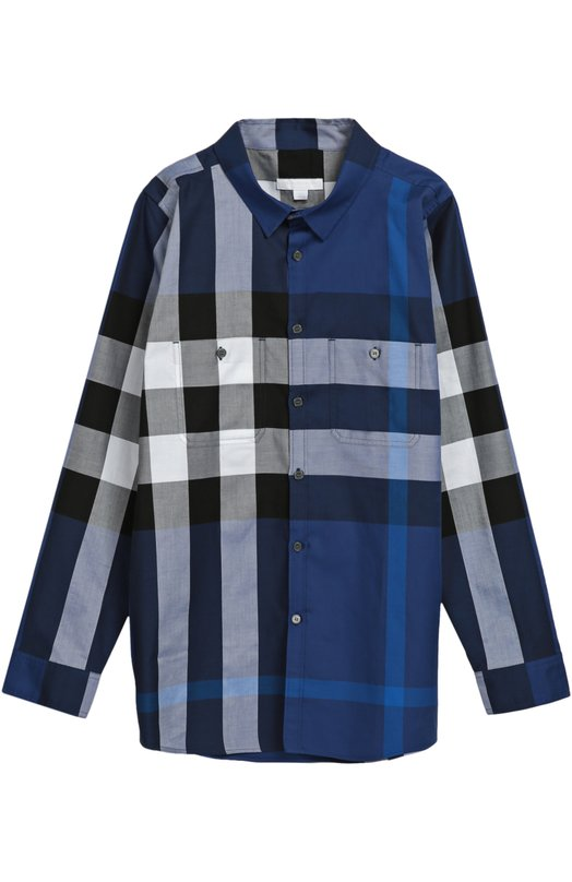 Хлопковая рубашка с нагрудными карманами Burberry 4018203