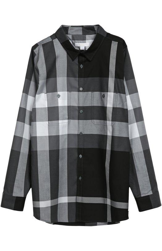 Хлопковая рубашка с нагрудными карманами BurberryРубашки<br>Мастера марки использовали для создания рубашки с длинными рукавами и отложным воротником мягкий хлопок в крупную черно-белую клетку. Модель из коллекции сезона осень-зима 2016 года дополнена двумя нагрудными накладными карманами, застегивающимися на пуговицы.<br><br>Размер Years: 8<br>Пол: Мужской<br>Возраст: Детский<br>Размер производителя vendor: 128-134cm<br>Материал: Хлопок: 100%;<br>Цвет: Черный