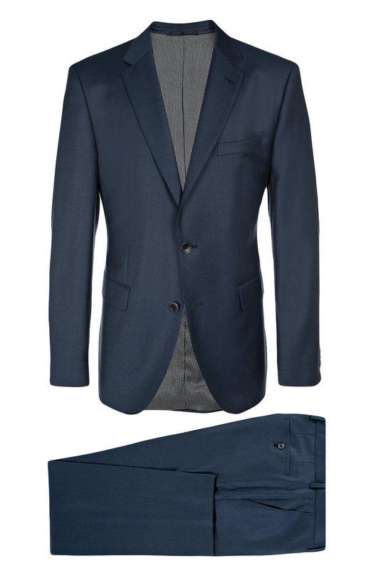 Шерстяной приталенный костюм HUGO BOSS Black LabelКостюмы<br>В коллекцию сезона осень-зима 2016 года вошел костюм с зауженными брюками со стрелками. Модель изготовлена из тонкой синей шерсти. Однобортный пиджак с узкими лацканами и тремя карманами застегивается на две пуговицы. Рекомендуем носить со светлой рубашкой, бордовым галстуком и темными дерби.<br><br>Российский размер RU: 102<br>Пол: Мужской<br>Возраст: Взрослый<br>Размер производителя vendor: 102<br>Материал: Шерсть: 100%;<br>Цвет: Синий