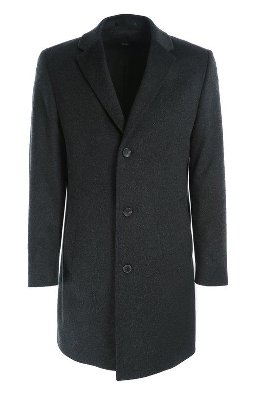 Шерстяное однобортное пальто BOSSПальто и плащи<br>Мастера бренда сшили однобортное пальто из плотной мягкой шерсти черного цвета. Модель с широкими лацканами вошла в осенне-зимнюю коллекцию 2016 года. Нам нравится носить с синими джинсами и свитером, а также темными дерби.<br><br>Российский размер RU: 58<br>Пол: Мужской<br>Возраст: Взрослый<br>Размер производителя vendor: 58<br>Материал: Шерсть: 100%;<br>Цвет: Темно-серый