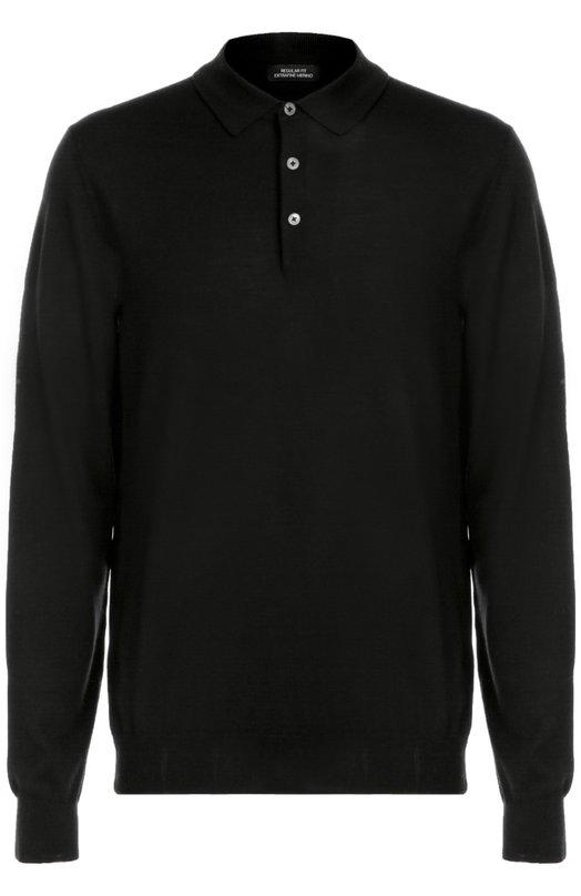 Шерстяное поло с длинными рукавами HUGO BOSS TailoredПоло<br>При производстве черного поло с длинными рукавами мастера бренда использовали плотный шерстяной трикотаж. Модель, застегивающаяся на три пуговицы, вошла в коллекцию сезона осень-зима 2016 года. Наши стилисты рекомендуют носить с брюками и дерби в тон.<br><br>Российский размер RU: 48<br>Пол: Мужской<br>Возраст: Взрослый<br>Размер производителя vendor: M<br>Материал: Шерсть: 100%;<br>Цвет: Черный