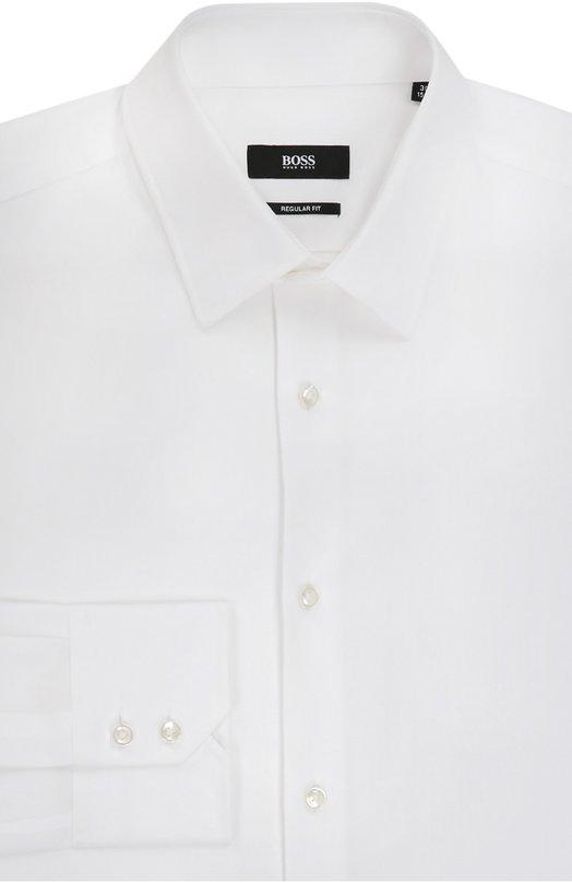 Хлопковая сорочка с воротником кент BOSSРубашки<br><br><br>Российский размер RU: 40<br>Пол: Мужской<br>Возраст: Взрослый<br>Размер производителя vendor: 40<br>Цвет: Белый