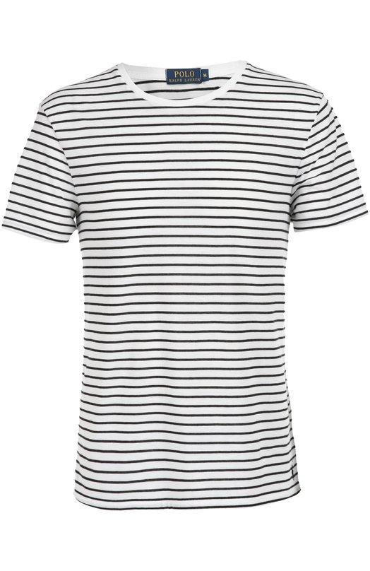 Футболка джерси в полоску Polo Ralph LaurenФутболки<br>Белая футболка в тонкую черную полосу вошла в осенне-зимнюю коллекцию 2016 года. Для изготовления модели Ральф Лорен выбрал мягкую хлопковую ткань. Нам нравится сочетать с яркими шортами и синими кедами.<br><br>Российский размер RU: 52<br>Пол: Мужской<br>Возраст: Взрослый<br>Размер производителя vendor: XL<br>Материал: Хлопок: 60%; Полиэстер: 40%;<br>Цвет: Белый