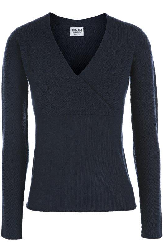 Шерстяной пуловер с V-образным вырезом Armani CollezioniСвитеры<br><br><br>Российский размер RU: 42<br>Пол: Женский<br>Возраст: Взрослый<br>Размер производителя vendor: 40<br>Материал: Шерсть: 100%;<br>Цвет: Синий