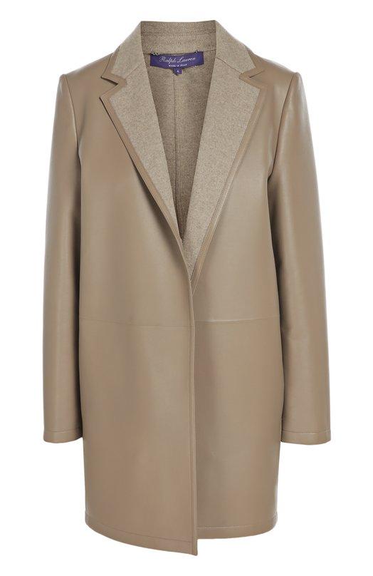 Кожаное утепленное пальто с широкими лацканами Ralph Lauren 940/IXQ75/FXQ75