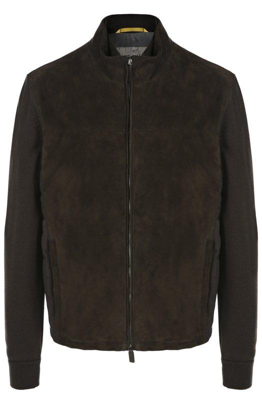 Куртка из замши с шерстяными рукавами CanaliКуртки<br>&amp;bull; Москва 1730 EUR (131500 RUB)&amp;bull; Милан 1880 EUR&amp;bull; Лондон 1951 EUR (1600 GBP)&amp;bull; Дубаи 1988 EUR (8050 AED)В осенне-зимнюю коллекцию 2016 года вошла темно-коричневая куртка из бархатистой замши, с трикотажными рукавами. Спинка выполнена из стеганого нейлона. Модель с воротником-стойкой и двумя карманами застегивается на молнию. Советуем носить с оксфордами в тон, синим пуловером и серыми джинсами.<br><br>Российский размер RU: 48<br>Пол: Мужской<br>Возраст: Взрослый<br>Размер производителя vendor: 48<br>Материал: Полиэстер: 70%; Полиамид: 30%; Шерсть: 100%; Замша натуральная: 100%; Подкладка-полиамид: 100%; Отделка-шерсть: 100%;<br>Цвет: Темно-коричневый