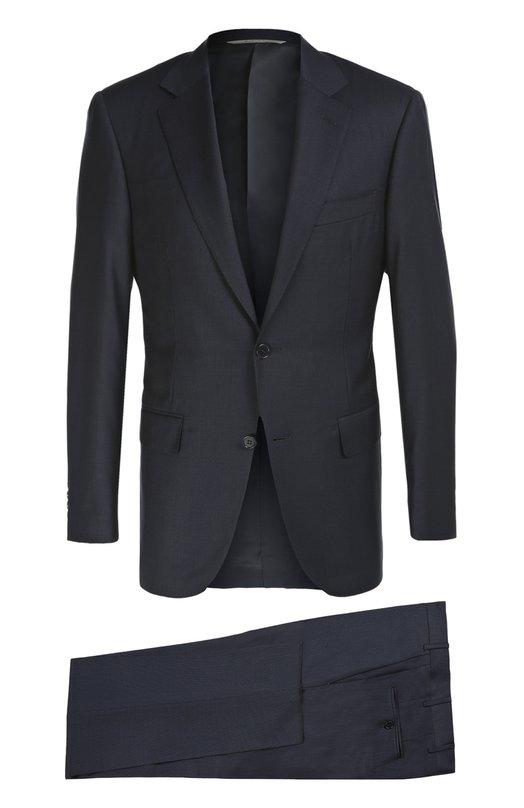 Костюм из фактурной шерсти CanaliКостюмы<br>Темно-синий костюм, выполненный вручную из тонкой шерсти с легким блеском, вошел в осенне-зимнюю коллекцию 2016 года. Приталенный пиджак с заостренными лацканами и тремя карманами дополнен зауженными брюками. Рекомендуем сочетать с водолазкой в тон и черными брогами.<br><br>Российский размер RU: 52<br>Пол: Мужской<br>Возраст: Взрослый<br>Размер производителя vendor: 52-C<br>Материал: Шерсть: 100%; Подкладка-купра: 100%;<br>Цвет: Темно-синий