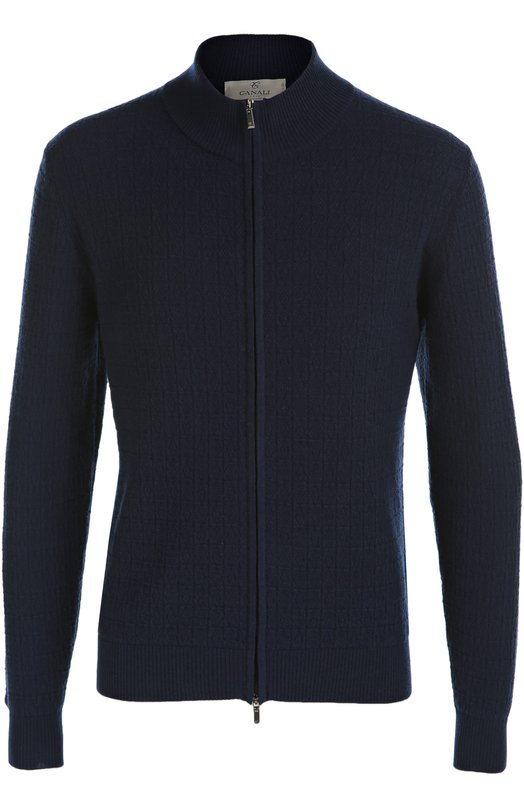 Кашемировый кардиган на молнии CanaliКардиганы<br>Темно-синий облегающий кардиган с рельефными узорами вошел в коллекцию сезона осень-зима 2016 года. Модель, застегивающаяся на молнию, выполнена из тонкой кашемировой пряжи. Советуем носить с серыми брюками и черными ботинками.<br><br>Российский размер RU: 52<br>Пол: Мужской<br>Возраст: Взрослый<br>Размер производителя vendor: 50<br>Материал: Кашемир: 100%;<br>Цвет: Темно-синий