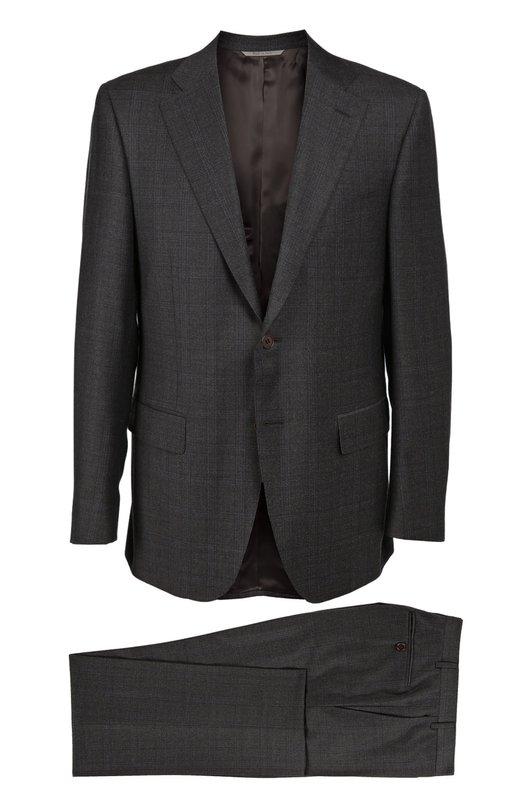 Шерстяной костюм в клетку CanaliКостюмы<br>Темно-коричневый костюм в клетку, сшитый вручную из тонкой шерсти, вошел в коллекцию сезона осень-зима 2016 года. Приталенный пиджак с заостренными лацканами дополнен зауженными брюками. Рекомендуем носить с белой рубашкой, серым галстуком и черными дерби.<br><br>Российский размер RU: 60<br>Пол: Мужской<br>Возраст: Взрослый<br>Размер производителя vendor: 58-R<br>Материал: Шерсть: 100%; Подкладка-купра: 100%;<br>Цвет: Темно-коричневый