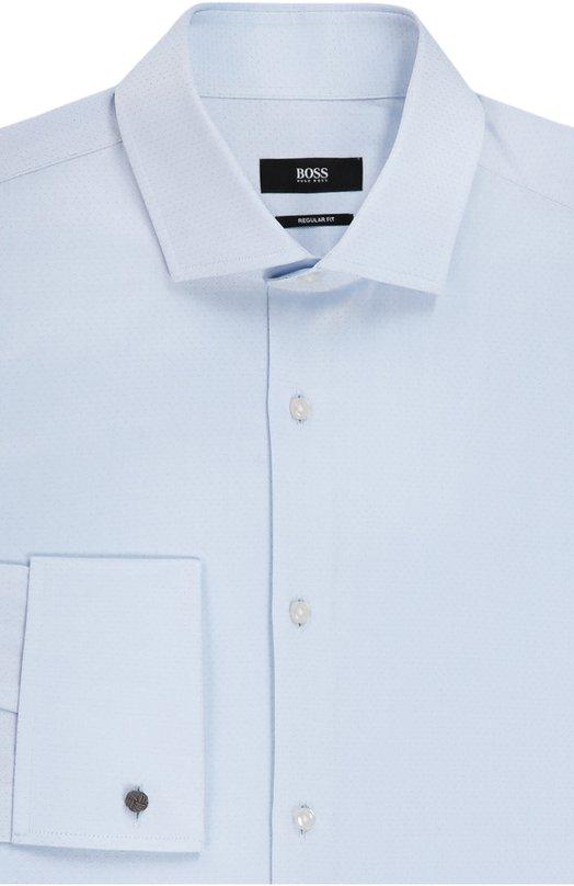 Хлопковая сорочка с воротником акула BOSSРубашки<br><br><br>Российский размер RU: 41<br>Пол: Мужской<br>Возраст: Взрослый<br>Размер производителя vendor: 41<br>Цвет: Голубой