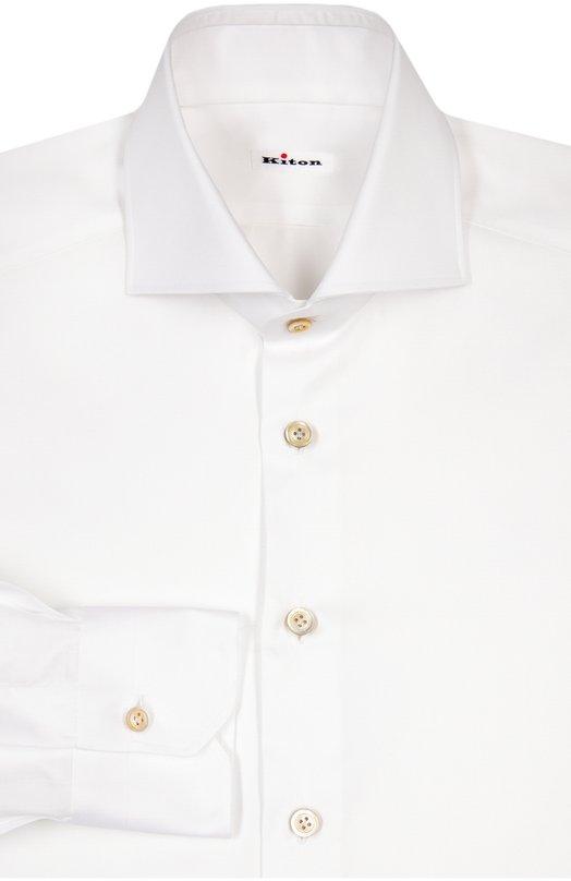 Хлопковая сорочка с воротником акула Kiton UCIDCCP2/H0003701