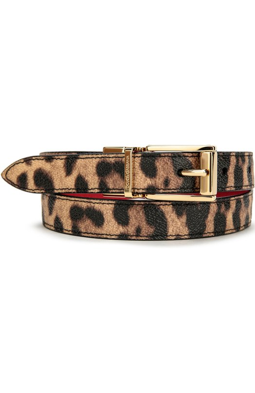 Ремень с леопардовым принтом Dolce &amp; GabbanaРемни<br>Тонкий ремень с полированной позолоченной пряжкой, украшенной выгравированным логотипом бренда, вошел в осенне-зимнюю коллекцию 2016 года. Доменико Дольче и Стефано Габбана выбрали для создания модели тисненый материал двух видов: с леопардовым принтом — для внешней стороны, ярко-красный — для внутренней.<br><br>Российский размер RU: 75<br>Пол: Женский<br>Возраст: Взрослый<br>Размер производителя vendor: 75<br>Материал: Поливинилхлорид: 80%; Хлопок: 7%; Полиэстер: 13%; Пряжка-мет.сплав: 100%;<br>Цвет: Леопардовый