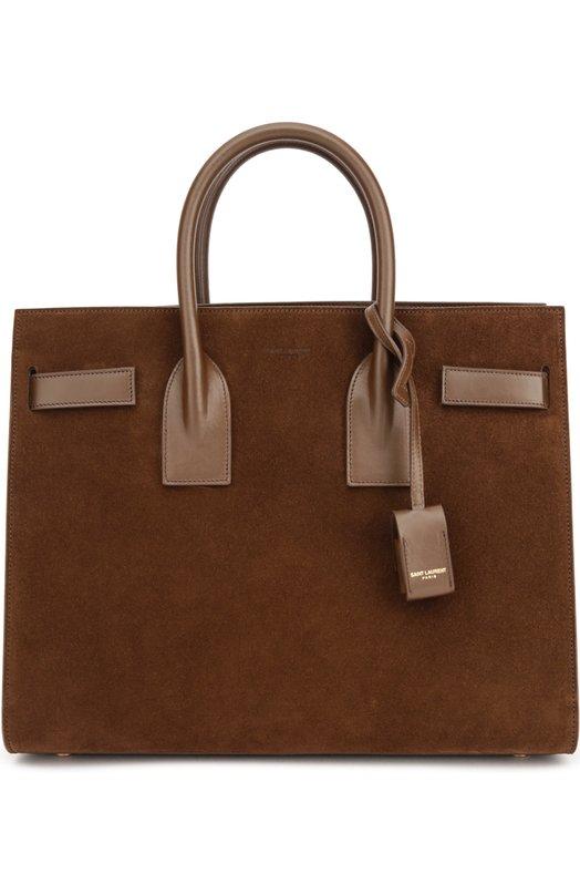 Замшевая сумка Sac De Jour Small с отделкой из кожи Saint Laurent 378299/BSJPW