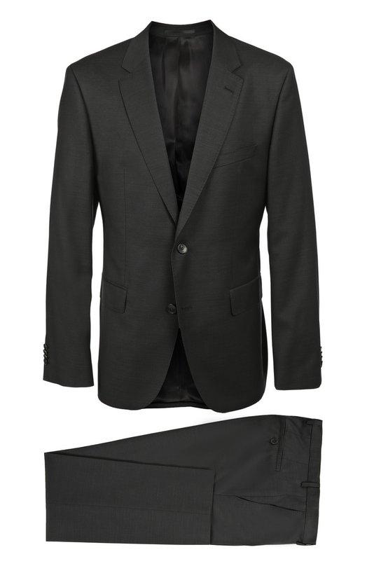 Шерстяной костюм с пиджаком на двух пуговицах HUGO BOSS Black LabelКостюмы<br>В осенне-зимнюю коллекцию 2016 года вошел черный костюм из тонкой шерсти, отличающейся особой легкостью и прочностью. Приталенный однобортный пиджак с широкими остроконечными лацканами, застегивающийся на две пуговицы, дополнен зауженными брюками со стрелками.<br><br>Российский размер RU: 54<br>Пол: Мужской<br>Возраст: Взрослый<br>Размер производителя vendor: 52<br>Материал: Шерсть: 100%;<br>Цвет: Черный