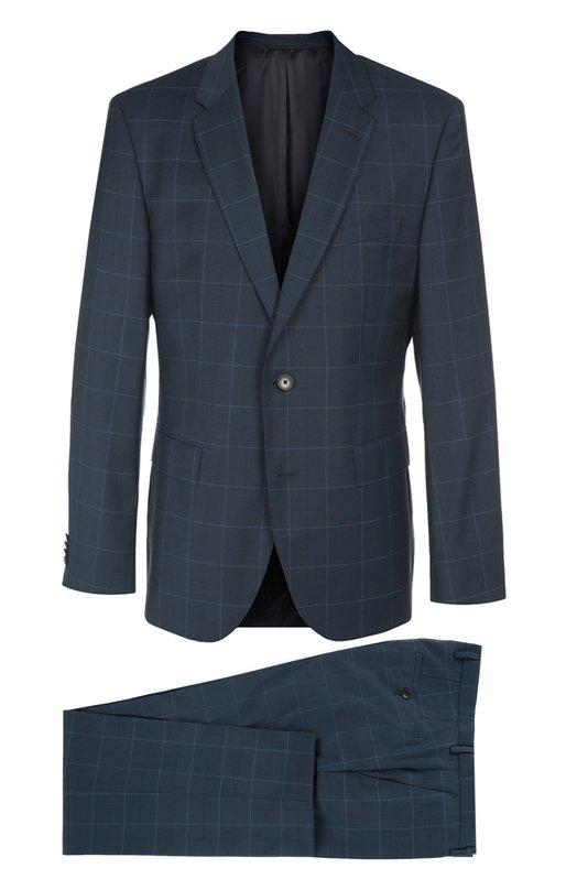 Шерстяной костюм в клетку HUGO BOSS Black LabelКостюмы<br>Синий костюм в крупную клетку, выполненный из тонкой шерсти, вошел в осенне-зимнюю коллекцию 2016 года. Приталенный пиджак с тремя карманами, застегивающийся на две пуговицы, дополнен зауженными брюками со стрелками. Наши стилисты рекомендуют носить с голубой рубашкой, синим галстуком и дерби в тон.<br><br>Российский размер RU: 50<br>Пол: Мужской<br>Возраст: Взрослый<br>Размер производителя vendor: 50<br>Материал: Шерсть: 100%;<br>Цвет: Синий