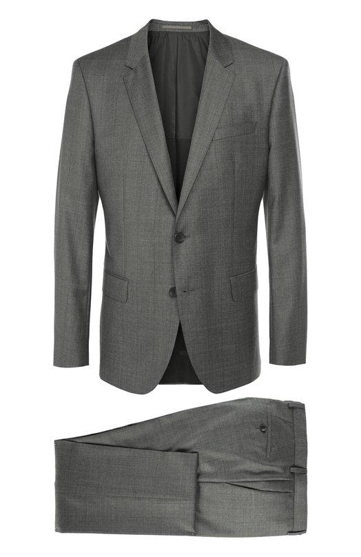 Шерстяной костюм в клетку HUGO BOSS Black LabelКостюмы<br>Серый костюм из тонкой гладкой шерсти в крупную клетку вошел в осенне-зимнюю коллекцию 2016 года. Однобортный приталенный пиджак с заостренными лацканами и тремя карманами дополнен зауженными брюками со стрелками. Нам нравится сочетать с коричневыми брогами, розовой рубашкой и галстуком ей в тон.<br><br>Российский размер RU: 52<br>Пол: Мужской<br>Возраст: Взрослый<br>Размер производителя vendor: 50<br>Материал: Шерсть: 100%;<br>Цвет: Серый