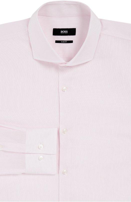 Хлопковая сорочка в полоску BOSSРубашки<br><br><br>Российский размер RU: 38<br>Пол: Мужской<br>Возраст: Взрослый<br>Размер производителя vendor: 38<br>Цвет: Розовый