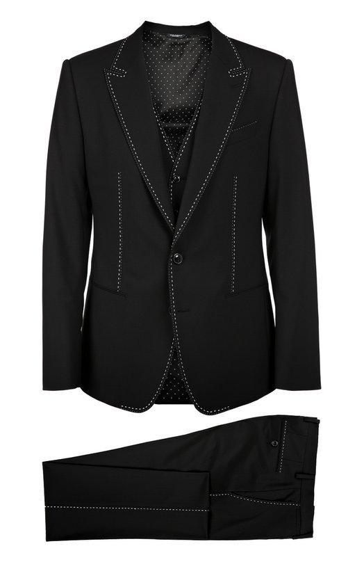 Костюм-тройка с контрастной прострочкой Dolce & Gabbana 0101/G14FMT/FUBBG
