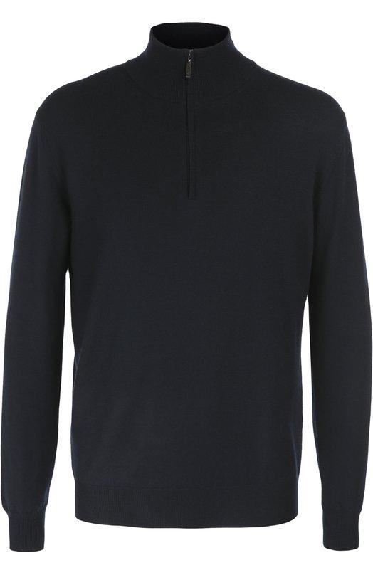 Шерстяной свитер с воротником на молнии CrucianiСвитеры<br>Темно-синий свитер с длинными рукавами вошел в осенне-зимнюю коллекцию 2016 года. Высокий воротник застегивается на молнию. Модель прямого кроя выполнена из приятного на ощупь, тонкого шерстяного трикотажа. Рекомендуем сочетать с голубыми джинсами и серыми слипонами.<br><br>Российский размер RU: 56<br>Пол: Мужской<br>Возраст: Взрослый<br>Размер производителя vendor: 54<br>Материал: Шерсть: 100%;<br>Цвет: Темно-синий