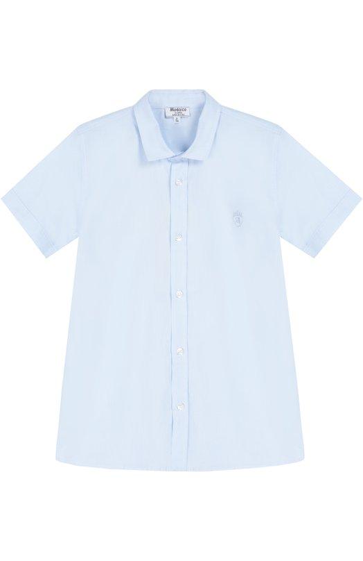 Хлопковая рубашка с короткими рукавами AlettaРубашки<br>В осенне-зимнюю коллекцию 2016 года вошла голубая рубашка с короткими рукавами и отложным воротником. Модель прямого кроя, украшенная вышивкой в виде логотипа марки, сшита из тонкого, мягкого хлопка поплина.<br><br>Размер Years: 10<br>Пол: Мужской<br>Возраст: Детский<br>Размер производителя vendor: 140-146cm<br>Материал: Хлопок: 100%;<br>Цвет: Голубой
