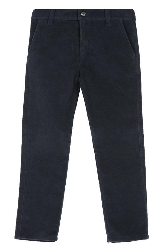 Хлопковые брюки прямого кроя Dal LagoБрюки<br>Темно-синие брюки из мягкого плотного хлопка вошли в осенне-зимнюю коллекцию 2016 года. Модель прямого кроя дополнена боковыми врезными карманами, пояс — шлевками для ремня. Наши стилисты рекомендуют использовать как основу школьного образа.<br><br>Размер Years: 4<br>Пол: Мужской<br>Возраст: Детский<br>Размер производителя vendor: 104-110cm<br>Материал: Хлопок: 100%;<br>Цвет: Темно-синий