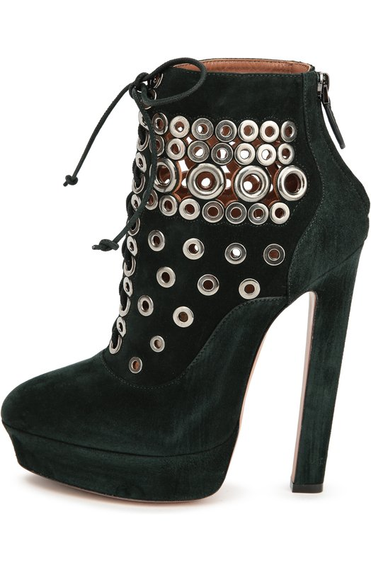 Ботильоны из замши с декоративными люверсами AlaiaБотильоны<br>Аззедин Алайя включил в коллекцию сезона осень-зима 2016 года ботильоны на высоком тонком каблуке и платформе. Модель из фактурной замши изумрудного оттенка декорирована металлическими люверсами. Обувь плотно фиксируется на ноге с помощью шнуровки, расположенной спереди, и небольшой молнии на заднике.<br><br>Российский размер RU: 37<br>Пол: Женский<br>Возраст: Взрослый<br>Размер производителя vendor: 37-5<br>Материал: Стелька-кожа: 100%; Подошва-кожа: 100%; Подошва-резина: 100%; Замша натуральная: 100%;<br>Цвет: Зеленый