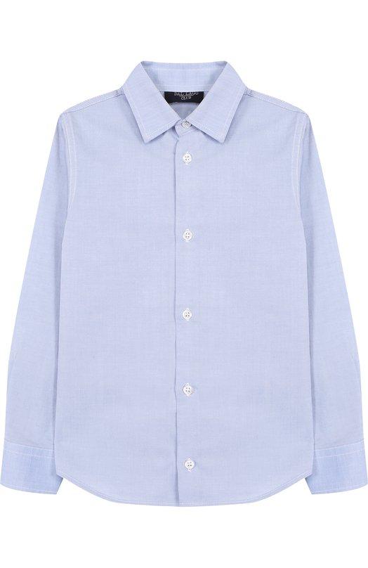 Хлопковая рубашка с воротником кент Dal LagoРубашки<br>Рубашка с длинными рукавами и воротником кент вошла в осенне-зимнюю коллекцию 2016 года. Для создания модели свободного кроя использован мягкий хлопок голубого цвета. Рекомендуем носить с темными брюками и школьным пиджаком.<br><br>Размер Years: 5<br>Пол: Мужской<br>Возраст: Детский<br>Размер производителя vendor: 110-116cm<br>Материал: Хлопок: 100%;<br>Цвет: Голубой