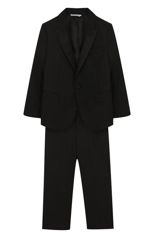 Купить Смокинг из смеси шерсти и шелка Dolce & Gabbana, 0131/L41U09/FUBBG/2-6, Италия, Черный, Шерсть: 87%; Шелк: 7%; Подкладка-вискоза: 60%; Подкладка-акрил: 40%; Эластан: 3%; Полиэстер: 3%;