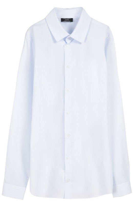 Хлопковая рубашка с воротником кент Dal LagoРубашки<br>Для производства рубашки свободного кроя, с длинными рукавами и воротником кент мастера бренда использовали мягкий хлопок светло-голубого цвета. Модель из коллекции сезона осень-зима 2016 года и манжеты застегиваются на белые пуговицы. Рекомендуем носить с брюками и школьным пиджаком.<br><br>Размер Years: 7<br>Пол: Мужской<br>Возраст: Детский<br>Размер производителя vendor: 122-128cm<br>Материал: Хлопок: 100%;<br>Цвет: Голубой