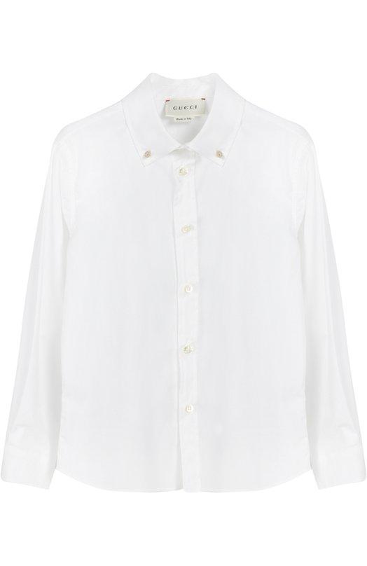 Хлопковая рубашка с воротником button down Gucci 429991/XB365
