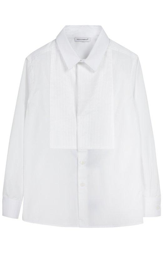 Хлопковая сорочка под смокинг Dolce &amp; GabbanaРубашки<br><br><br>Российский размер RU: 28<br>Пол: Мужской<br>Возраст: Детский<br>Размер производителя vendor: 3<br>Материал: Хлопок: 100%;<br>Цвет: Белый