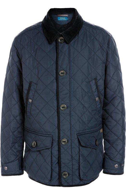Стеганая куртка с отложным воротником Polo Ralph LaurenКуртки<br>Темно-синяя куртка с отложным воротником и кантом из бархатистого велюра вошла в осенне-зимнюю коллекцию 2016 года. Для производства модели с накладными карманами Ральф Лорен выбрал плотный стеганый материал.<br><br>Российский размер RU: 50<br>Пол: Мужской<br>Возраст: Взрослый<br>Размер производителя vendor: L<br>Материал: Полиамид: 100%; Подкладка-хлопок: 100%; Отделка замша натуральная: 100%;<br>Цвет: Темно-синий