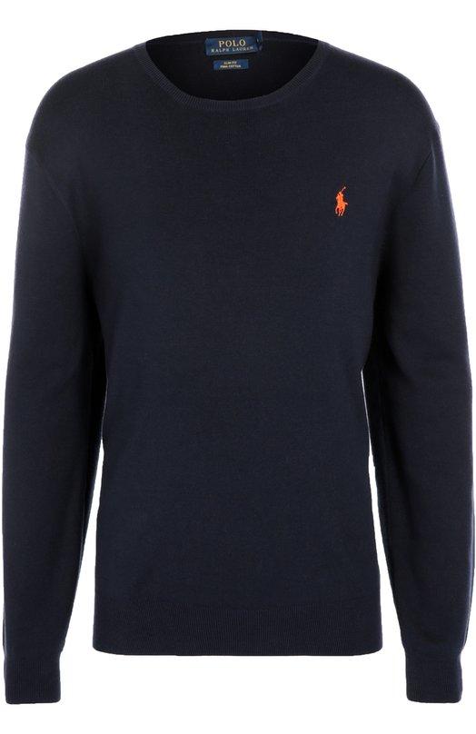 Хлопковый джемпер с круглым вырезом Polo Ralph LaurenСвитеры<br><br><br>Российский размер RU: 54<br>Пол: Мужской<br>Возраст: Взрослый<br>Размер производителя vendor: XL<br>Материал: Хлопок: 100%;<br>Цвет: Темно-синий