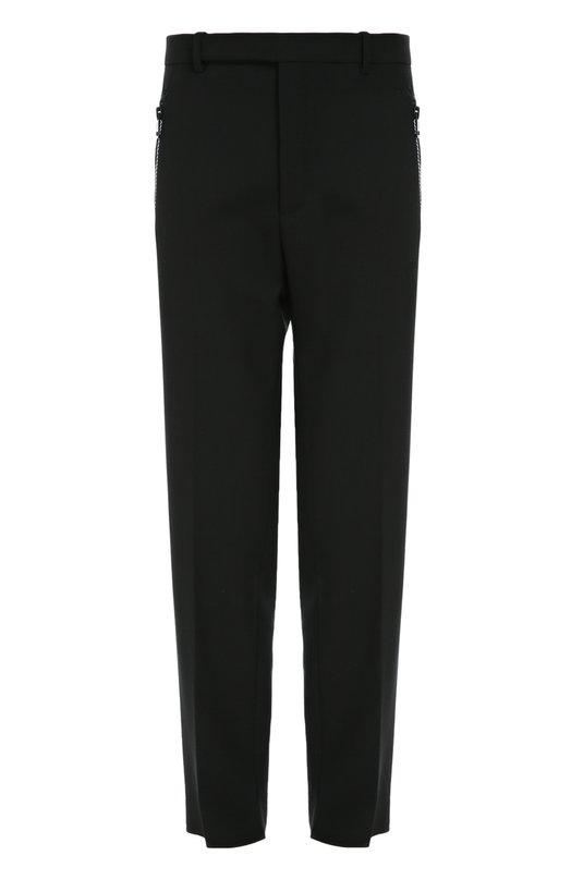 Шерстяные брюки свободного кроя с карманами на молнии Balenciaga 430738/TSD08