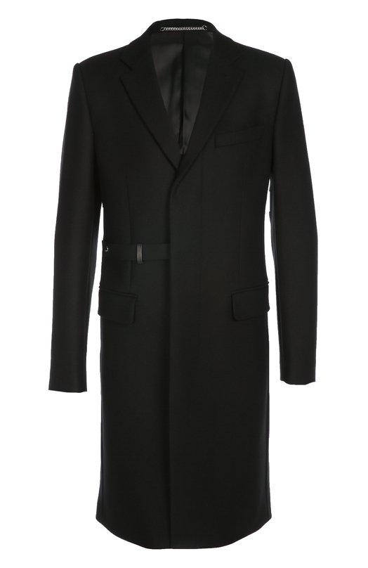 Шерстяное пальто с ремешком GivenchyПальто и плащи<br>Пальто прямого кроя, дополненное двумя боковыми и одним нагрудным карманами, вошло в осенне-зимнюю коллекцию 2016 года. Черная модель из мягкой шерстяной ткани застегивается эластичным текстильным ремешком с кнопкой. Попробуйте сочетать с белой водолазкой, темными брюками и брогами.<br><br>Российский размер RU: 52<br>Пол: Мужской<br>Возраст: Взрослый<br>Размер производителя vendor: 52<br>Материал: Шерсть: 80%; Полиамид: 20%; Подкладка-купра: 100%;<br>Цвет: Черный