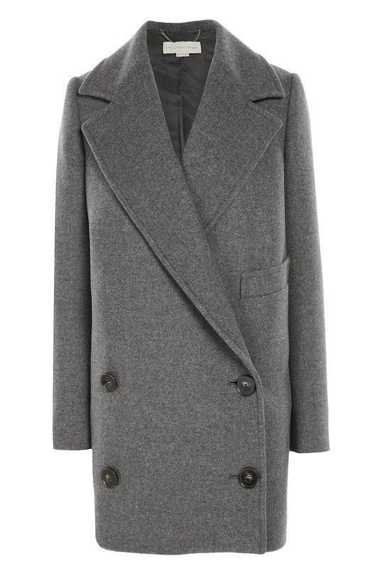Двубортное пальто прямого кроя с широкими лацканами Stella McCartneyПальто и плащи<br>Стелла Маккартни включила серое двубортное пальто свободного кроя в коллекцию сезона осень-зима 2016 года. Модель с широкими лацканами выполнена из мягкой шерсти. Изделие дополнено прорезным карманом. Рекомендуем носить с водолазкой  в тон, темными брюками, полуботинками и сумкой.<br><br>Российский размер RU: 50<br>Пол: Женский<br>Возраст: Взрослый<br>Размер производителя vendor: 42<br>Материал: Фибра: 9%; Шерсть: 64%; Подкладка-вискоза: 52%; Подкладка-хлопок: 48%; Полиамид: 27%;<br>Цвет: Серый