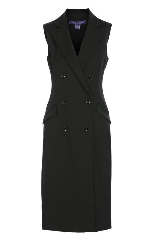 Удлиненный двубортный жилет с карманами Ralph LaurenЖилеты<br>Для производства черного платья Ральф Лорен выбрал черный шерстяной габардин, который обычно используют для пошива костюмов. На создание модели без рукавов дизайнера вдохновил классический пиджак. Изделие из осенне-зимней коллекции 2016 года можно также носить как удлиненный жилет.<br><br>Российский размер RU: 44<br>Пол: Женский<br>Возраст: Взрослый<br>Размер производителя vendor: 6<br>Материал: Шерсть: 98%; Подкладка-шелк: 91%; Подкладка-эластан: 9%; Эластан: 2%;<br>Цвет: Черный