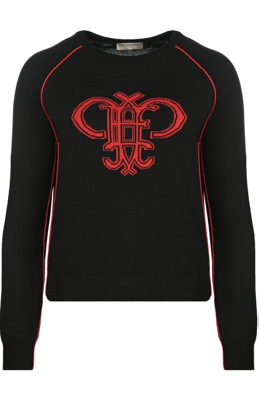 Шерстяной пуловер с круглым вырезом и ярким принтом Emilio Pucci 66/KM65/66996
