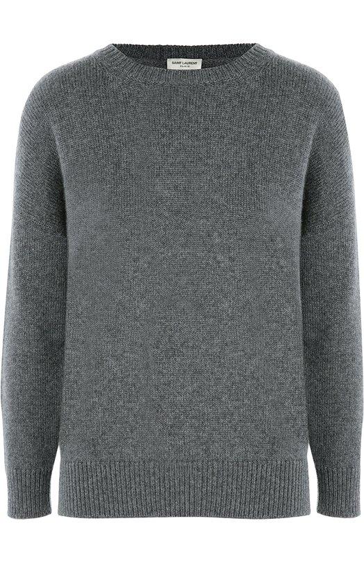Кашемировый пуловер свободного кроя со спущенным рукавом Saint LaurentСвитеры<br><br><br>Российский размер RU: 52<br>Пол: Женский<br>Возраст: Взрослый<br>Размер производителя vendor: XL<br>Материал: Подкладка-шелк: 100%; Кашемир: 100%;<br>Цвет: Серый