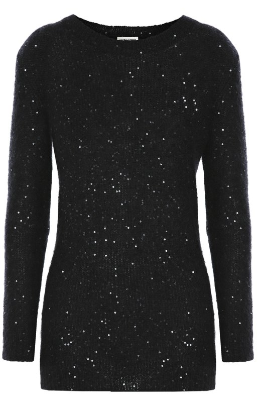 Удлиненный пуловер с круглым вырезом и пайетками Saint Laurent 419888/Y1ZQ2