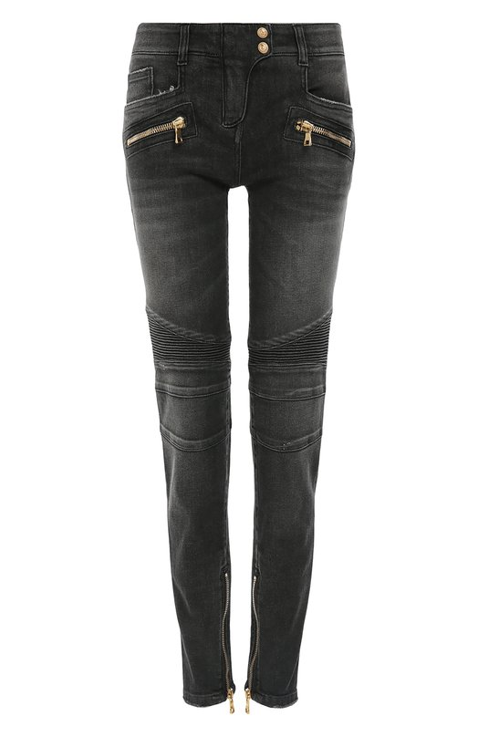 Байкерские джинсы-скинни с декоративной отделкой BalmainДжинсы<br>Серые джинсы skinny с заниженной линией талии вошли в осенне-зимнюю коллекцию марки, основанной Пьером Бальманом. Оливье Рустен, вдохновившись байкерской эстетикой, дополнил модель из эластичного хлопка фигурными швами. Во внутренние боковые швы брючин вшиты короткие функциональные молнии.<br><br>Российский размер RU: 46<br>Пол: Женский<br>Возраст: Взрослый<br>Размер производителя vendor: 40<br>Материал: Хлопок: 98%; Эластан: 2%;<br>Цвет: Серый