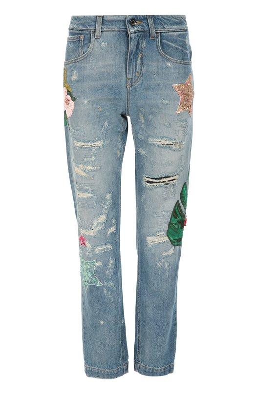 Джинсы прямого кроя с потертостями и декоративной вышивкой Dolce & Gabbana 0102/FTAIAZ/G8S99