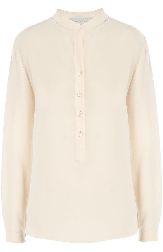 Прямая шелковая блуза с воротником-стойкой Stella McCartneyБлузы<br>Кремовая блуза Eva прямого кроя, с длинными рукавами вошла в коллекцию сезона осень-зима 2016 года. Стелла Маккартни выбрала для создания модели тонкий шелковый крепдешин. Наши стилисты рекомендуют носить с синей джинсовой юбкой, черными ботинками и сумкой.<br><br>Российский размер RU: 40<br>Пол: Женский<br>Возраст: Взрослый<br>Размер производителя vendor: 38<br>Материал: Шелк: 100%;<br>Цвет: Кремовый