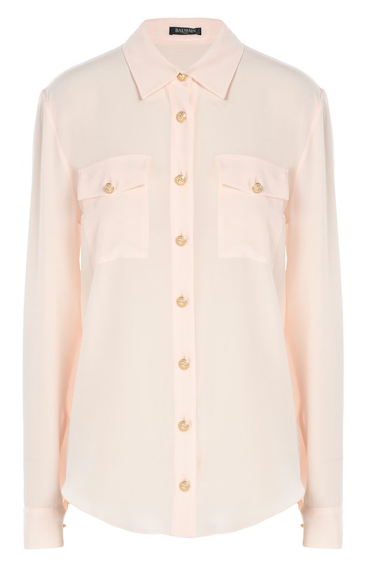 Шелковая блуза с декоративными пуговицами и накладными карманами Balmain 1130/120S