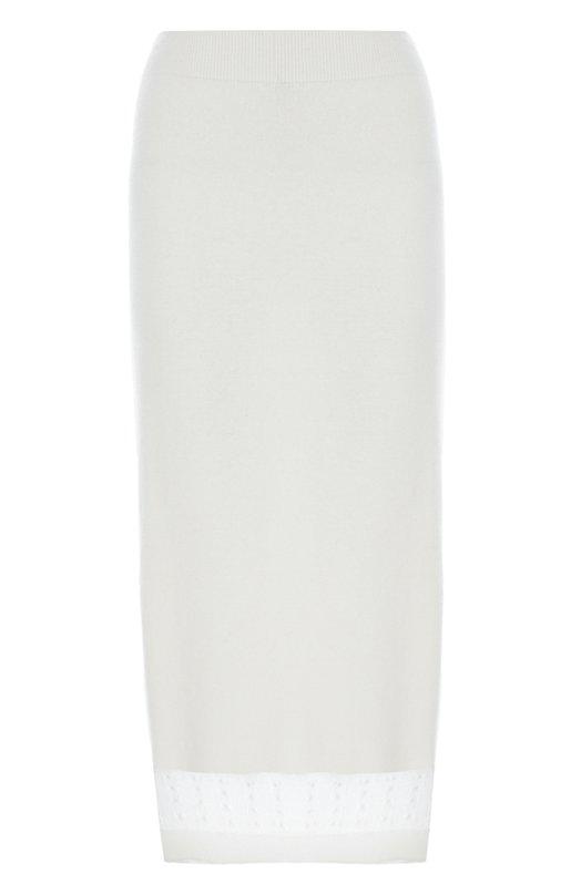 Кашемировая юбка-миди с полупрозрачной вставкой Victoria Beckham SKT KNT 004 P AW16/CASHMERE SILK